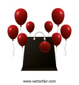 shopping online paper bag and balloons