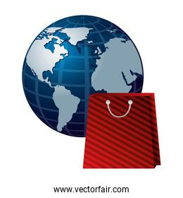 shopping online bag and world commerce