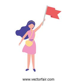 woman holding red flag success