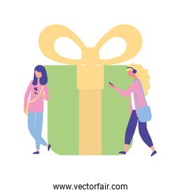 women using cellphone online shopping gift