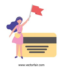 woman holding red flag and bank card business