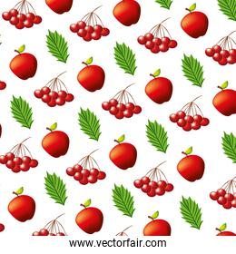 apples cherries and leaves pattern