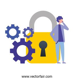 businessman using mobile security gears