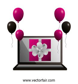 shopping online gift and balloons