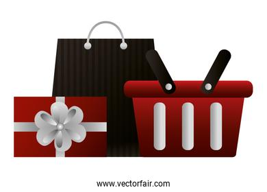 shopping online basket bag and gift