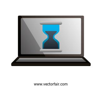 laptop hour glass time business