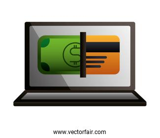 laptop banknote bank card transaction