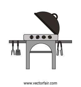 picnic grill with cutlery on white background