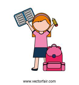 girl with backpack and book back to school over white