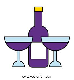 wine bottle and glasses on white background