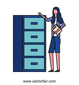 woman with folder office cabinet organizer
