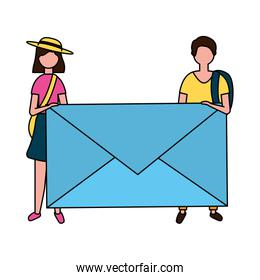 man and woman holding envelope email