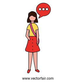 woman standing with speech bubble