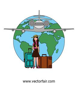 traveler woman with suitcases world airplane
