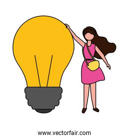 young woman holding bulb idea