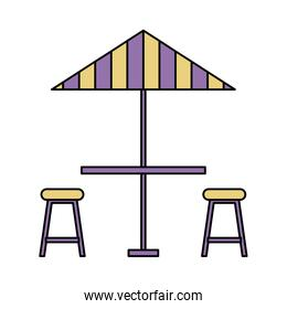 umbrella table and chair on white background