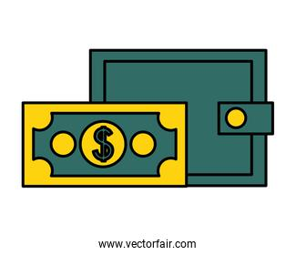 wallet banknote money on white background