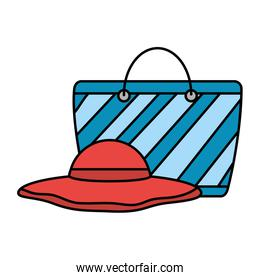 hat and bag beach