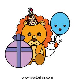cute lion character with  birthday gift balloon