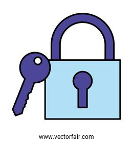 security padlock and key on white background