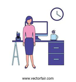 business woman with desk computer clock