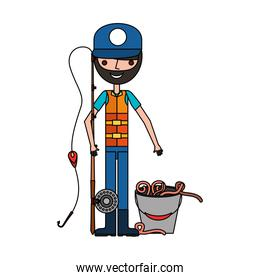 fisherman with rod and worms in bucket
