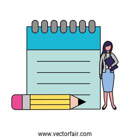 businesswoman with notepad and pencil