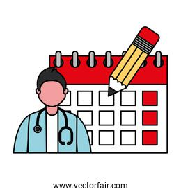 doctor professional with calendar labor