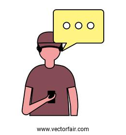 young man with mobile speech bubble