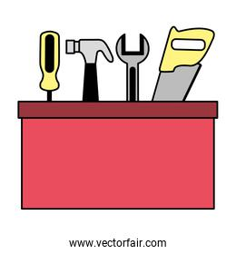 construction repair tool box on white background
