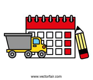 truck and labor calendar and pencil