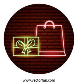 online shopping neon card