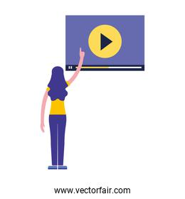 woman pointing video blog screen