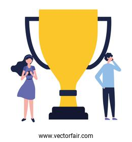 man and woman using mobile and award trophy