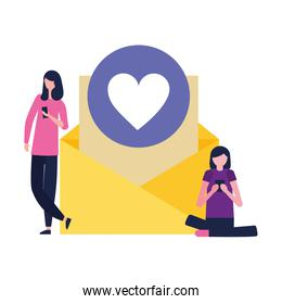 women using mobile email message love
