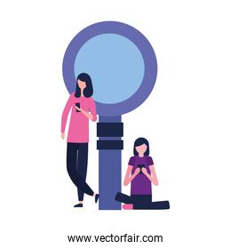 women with mobile and magnifying glass
