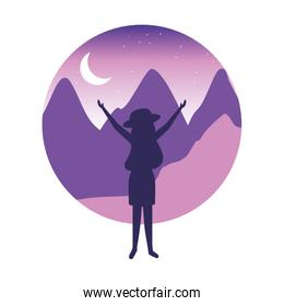 traveler woman in the night landscape