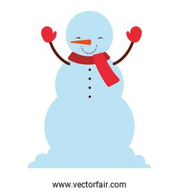 winter season snowman character with scarf