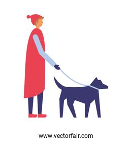 man with winter clothes walking her dog