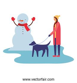 woman walking with her dog snowman winter