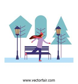 woman with winter clothes in the park