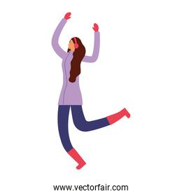 faceless woman jumping with winter clothes