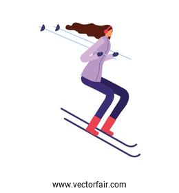 woman skiing in the winter season