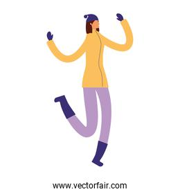 woman jumping with winter clothes
