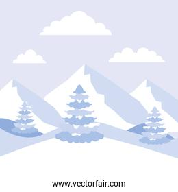 winter landscape mountains alps and pine trees