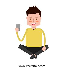 man with mobile sitting character