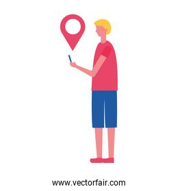man holding smartphone with  pointer location