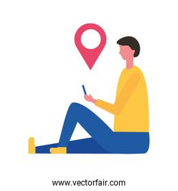 man holding mobile pointer location