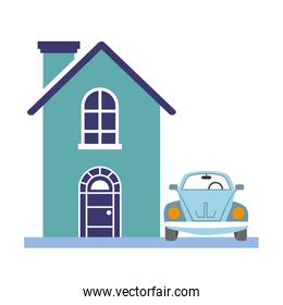 house and car on white background