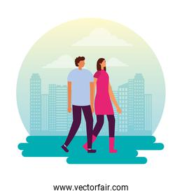 couple holding hands in the city